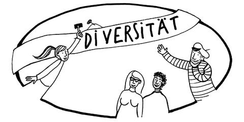 Zeichnung in schwarz-weiß: Diversität und Intersektionalität