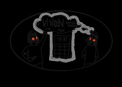 Zeichnung in schwarz-weiß: Projektmanagement