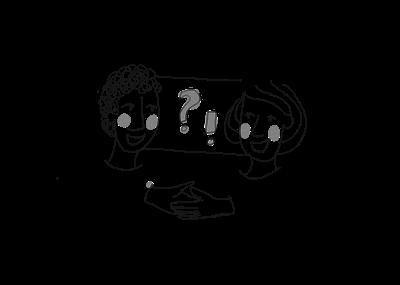 Zeichnung in schwarz-weiß: Zwei Menschen, die miteinander sprechen