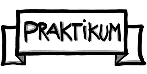 Zeichnung in schwarz-weiß: Wie organisiere ich mein Praktikum?