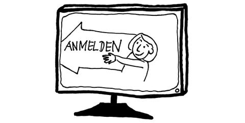 Zeichnung in schwarz-weiß: Wie und wo melde ich mich an?