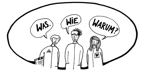 Zeichnung in schwarz-weiß: Wissenschaftskommunikation