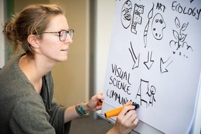 Lehrende zeichnet an Flipchart