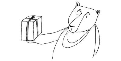 Zeichnung in schwarz-weiß: Bär mit Geschenk