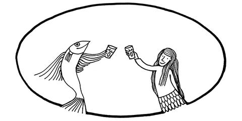 Zeichnung in schwarz-weiß: Ocean Education