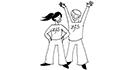 Schwarz-weiss-Zeichnung: Haltung der Lehrperson